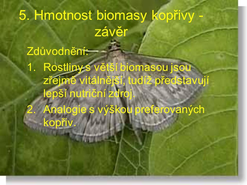 5. Hmotnost biomasy kopřivy - závěr Zdůvodnění: 1.Rostliny s větší biomasou jsou zřejmě vitálnější, tudíž představují lepší nutriční zdroj. 2.Analogie