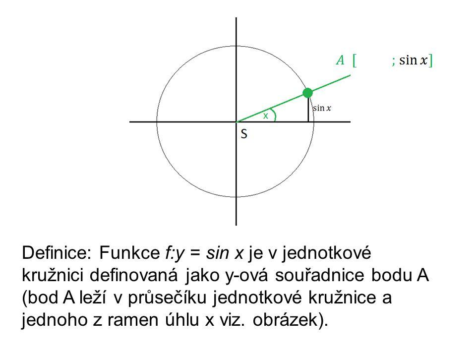 Definice: Funkce f:y = sin x je v jednotkové kružnici definovaná jako y-ová souřadnice bodu A (bod A leží v průsečíku jednotkové kružnice a jednoho z ramen úhlu x viz.
