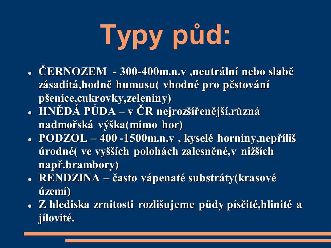 Typy půd: ČERNOZEM - 300-400m.n.v,neutrální nebo slabě zásaditá,hodně humusu( vhodné pro pěstování pšenice,cukrovky,zeleniny) ČERNOZEM - 300-400m.n.v,