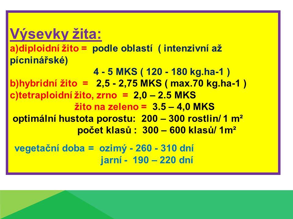 Výsevky žita: a)diploidní žito = podle oblastí ( intenzivní až pícninářské) 4 - 5 MKS ( 120 - 180 kg.ha-1 ) b)hybridní žito = 2,5 - 2,75 MKS ( max.70 kg.ha-1 ) c)tetraploidní žito, zrno = 2,0 – 2.5 MKS žito na zeleno = 3.5 – 4,0 MKS optimální hustota porostu: 200 – 300 rostlin/ 1 m² počet klasů : 300 – 600 klasů/ 1m² vegetační doba = ozimý - 260 - 310 dní jarní - 190 – 220 dní