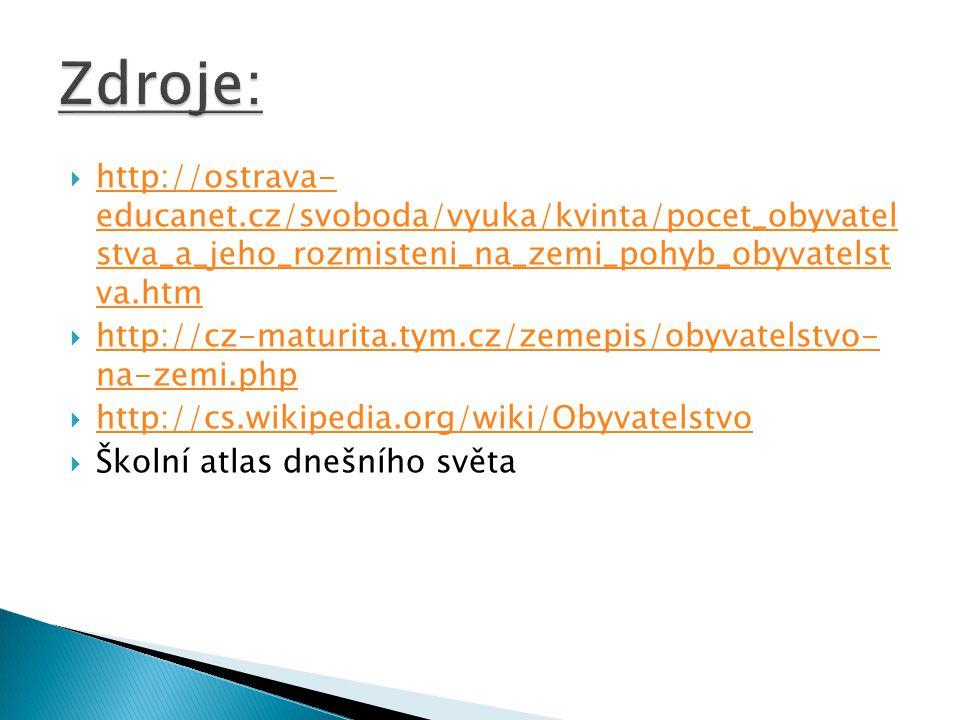  http://ostrava- educanet.cz/svoboda/vyuka/kvinta/pocet_obyvatel stva_a_jeho_rozmisteni_na_zemi_pohyb_obyvatelst va.htm http://ostrava- educanet.cz/svoboda/vyuka/kvinta/pocet_obyvatel stva_a_jeho_rozmisteni_na_zemi_pohyb_obyvatelst va.htm  http://cz-maturita.tym.cz/zemepis/obyvatelstvo- na-zemi.php http://cz-maturita.tym.cz/zemepis/obyvatelstvo- na-zemi.php  http://cs.wikipedia.org/wiki/Obyvatelstvo http://cs.wikipedia.org/wiki/Obyvatelstvo  Školní atlas dnešního světa
