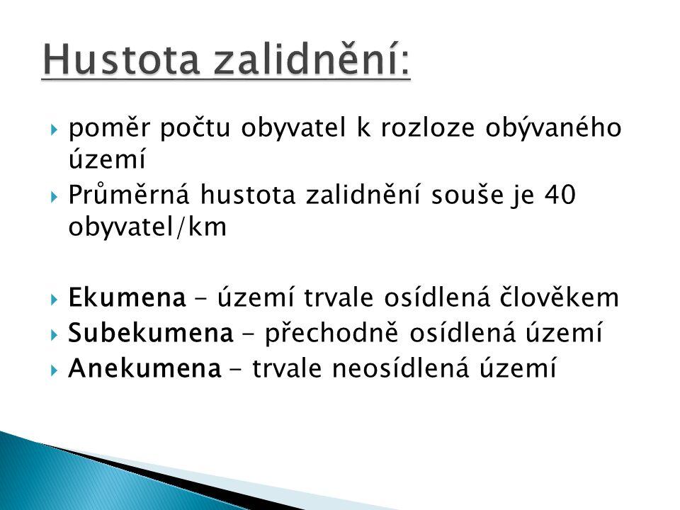  poměr počtu obyvatel k rozloze obývaného území  Průměrná hustota zalidnění souše je 40 obyvatel/km  Ekumena - území trvale osídlená člověkem  Subekumena - přechodně osídlená území  Anekumena - trvale neosídlená území