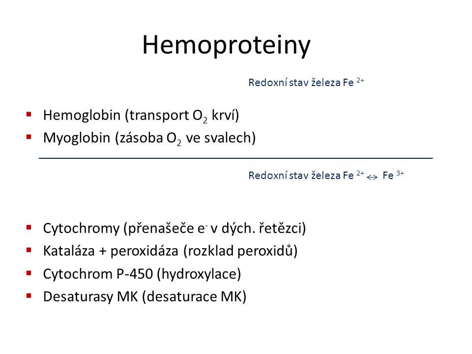 Hemoproteiny  Hemoglobin (transport O 2 krví)  Myoglobin (zásoba O 2 ve svalech)  Cytochromy (přenašeče e - v dých. řetězci)  Kataláza + peroxidáz