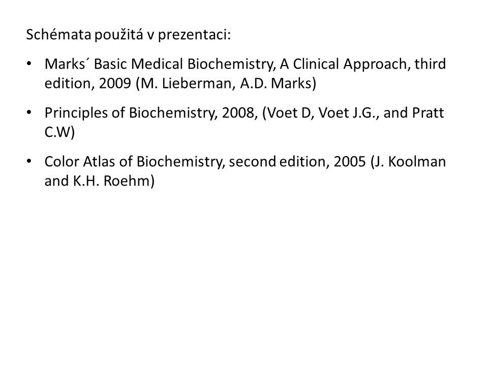 Schémata použitá v prezentaci: Marks´ Basic Medical Biochemistry, A Clinical Approach, third edition, 2009 (M. Lieberman, A.D. Marks) Principles of Bi