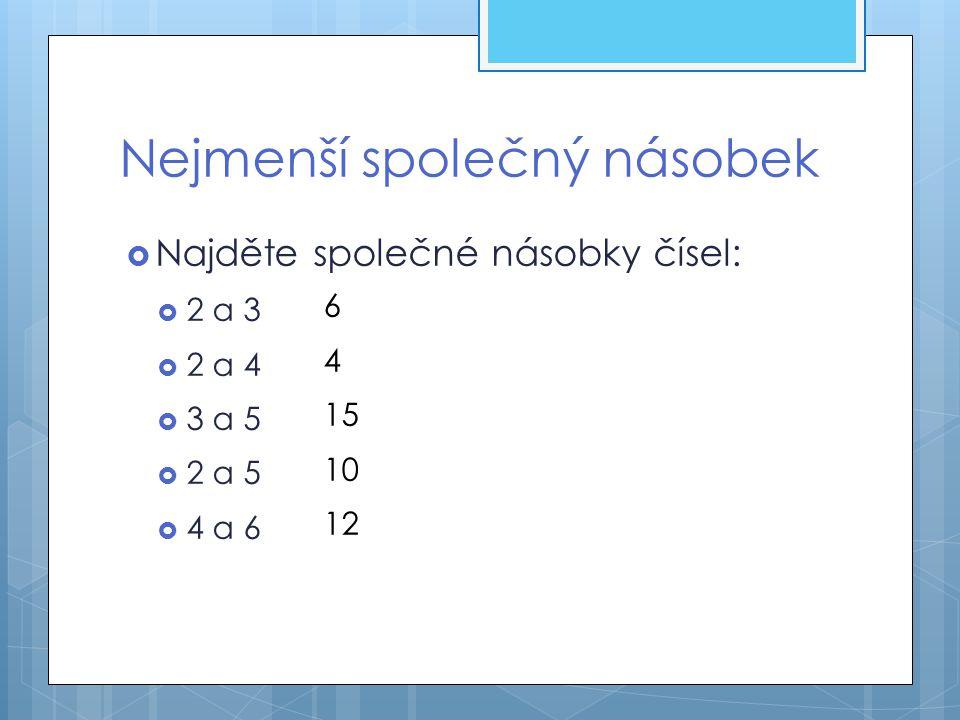  Najděte společné násobky čísel:  2 a 3  2 a 4  3 a 5  2 a 5  4 a 6 Nejmenší společný násobek 6 4 15 10 12