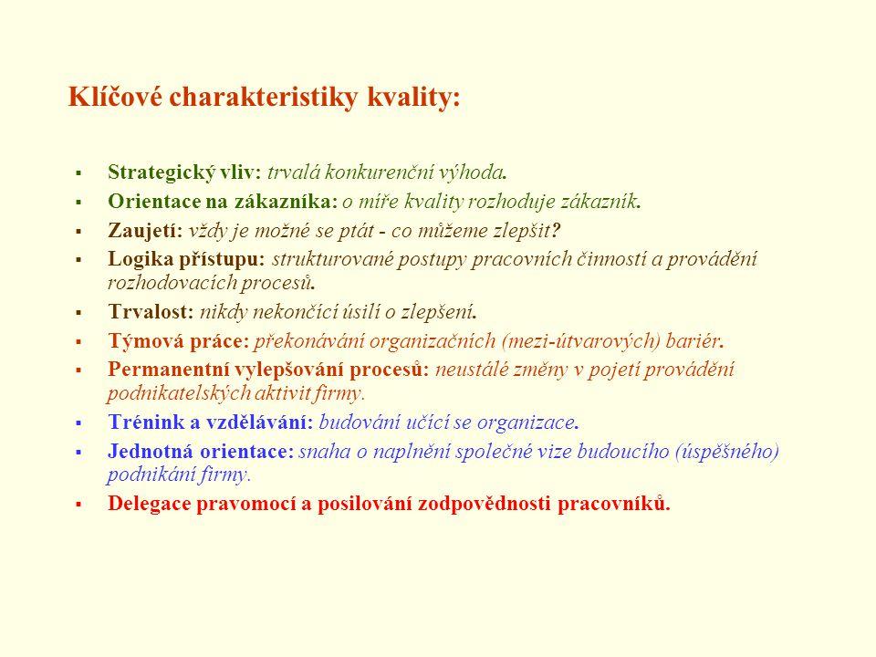 Klíčové charakteristiky kvality:  Strategický vliv: trvalá konkurenční výhoda.