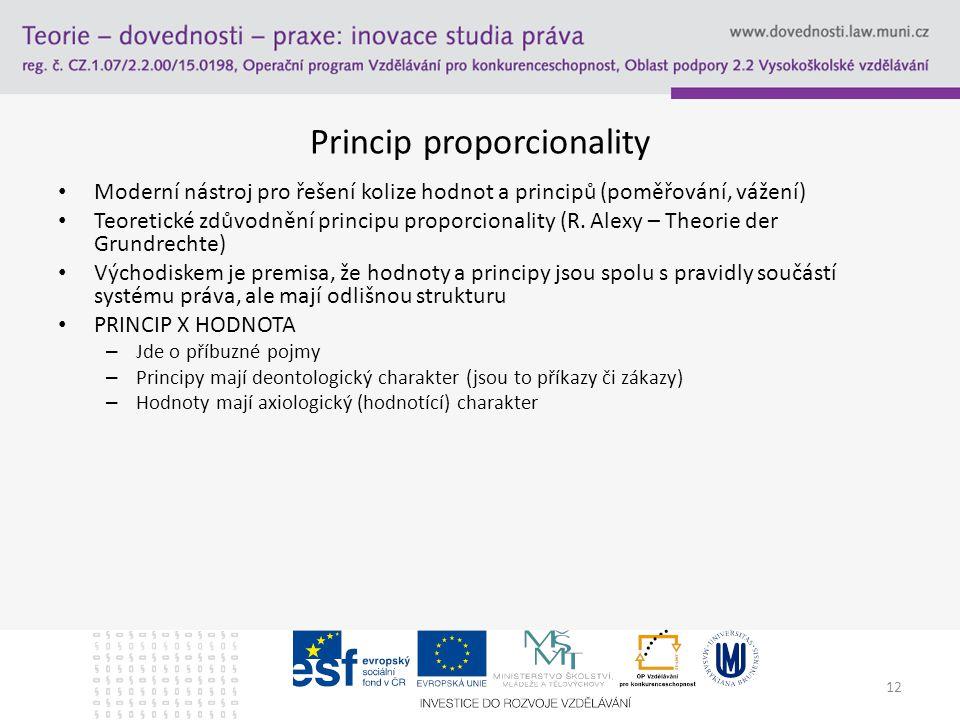 12 Princip proporcionality Moderní nástroj pro řešení kolize hodnot a principů (poměřování, vážení) Teoretické zdůvodnění principu proporcionality (R.