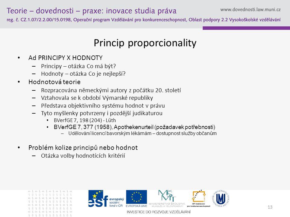 13 Princip proporcionality Ad PRINCIPY X HODNOTY – Principy – otázka Co má být.