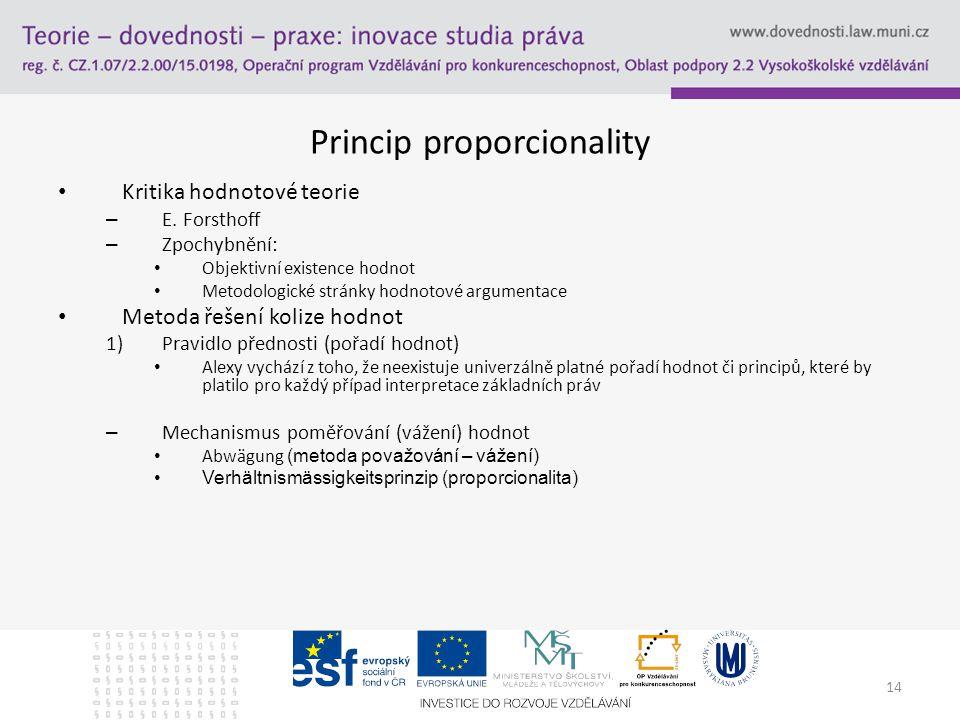 14 Princip proporcionality Kritika hodnotové teorie – E.