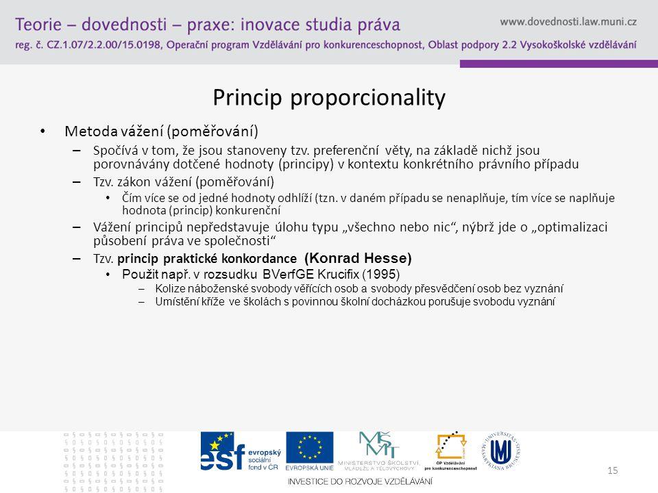 15 Princip proporcionality Metoda vážení (poměřování) – Spočívá v tom, že jsou stanoveny tzv.