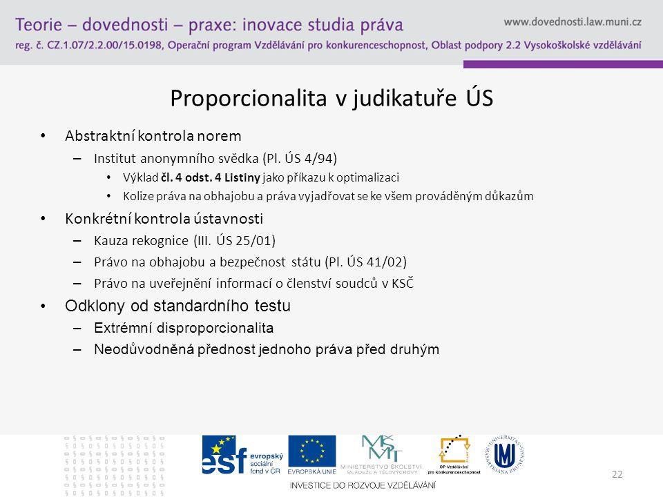 22 Proporcionalita v judikatuře ÚS Abstraktní kontrola norem – Institut anonymního svědka (Pl.