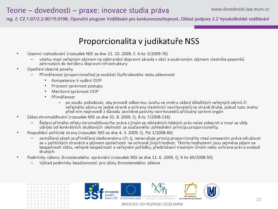 23 Proporcionalita v judikatuře NSS Územní rozhodování (rozsudek NSS ze dne 21.