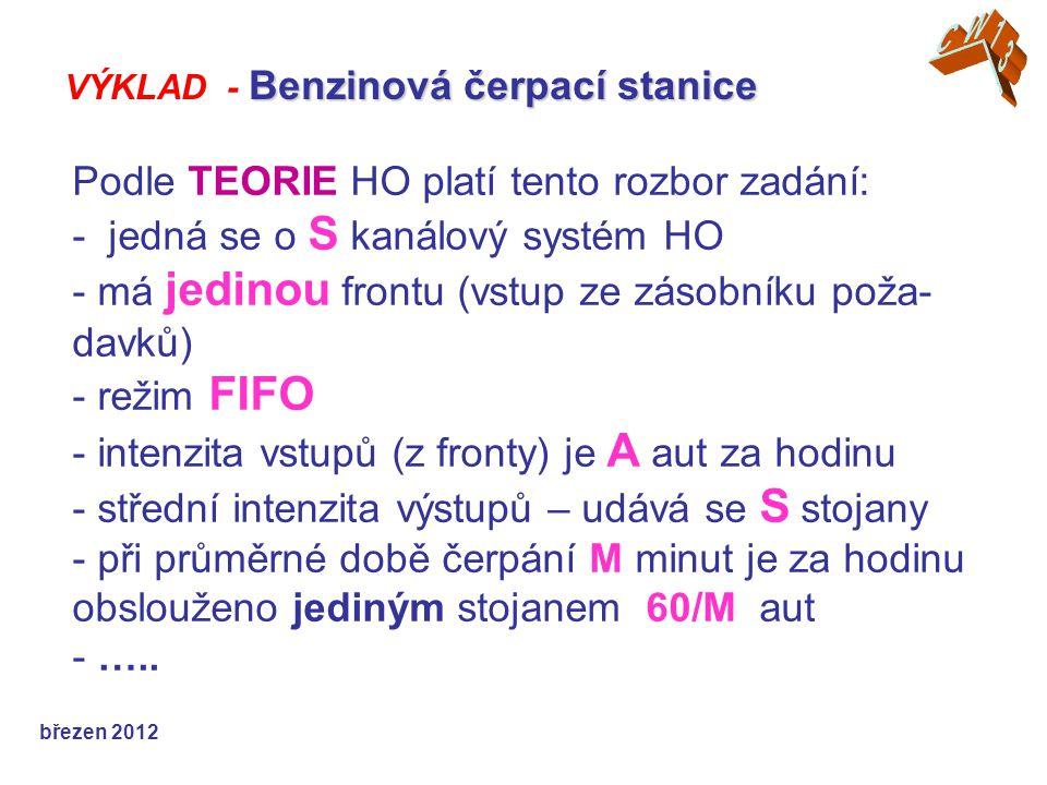 Podle TEORIE HO platí tento rozbor zadání: - jedná se o S kanálový systém HO - má jedinou frontu (vstup ze zásobníku poža- davků) - režim FIFO - inten