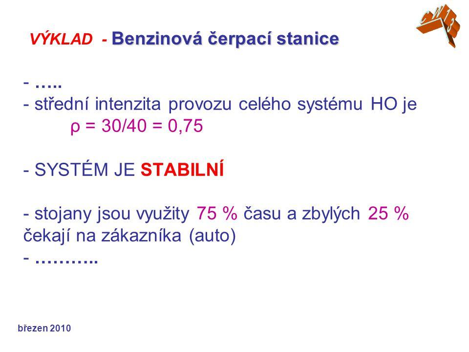 - ….. - střední intenzita provozu celého systému HO je ρ = 30/40 = 0,75 - SYSTÉM JE STABILNÍ - stojany jsou využity 75 % času a zbylých 25 % čekají na