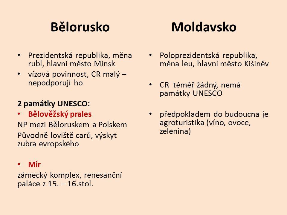 Bělorusko Moldavsko Prezidentská republika, měna rubl, hlavní město Minsk vízová povinnost, CR malý – nepodporují ho 2 památky UNESCO: Bělověžský pral