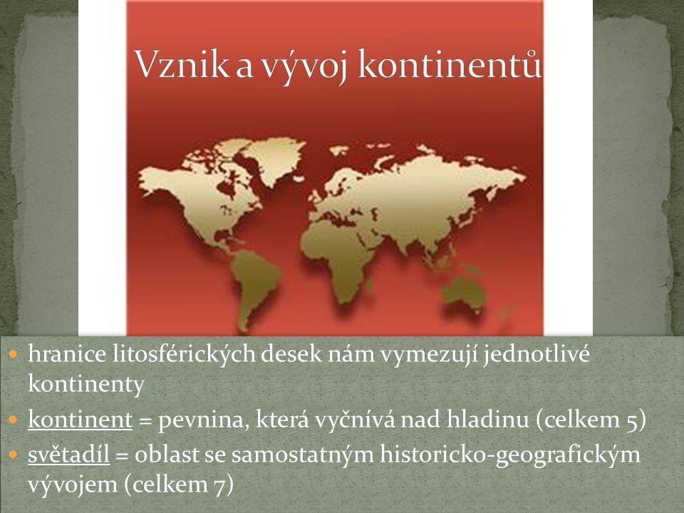 hranice litosférických desek nám vymezují jednotlivé kontinenty kontinent = pevnina, která vyčnívá nad hladinu (celkem 5) světadíl = oblast se samostatným historicko-geografickým vývojem (celkem 7) hranice litosférických desek nám vymezují jednotlivé kontinenty kontinent = pevnina, která vyčnívá nad hladinu (celkem 5) světadíl = oblast se samostatným historicko-geografickým vývojem (celkem 7)
