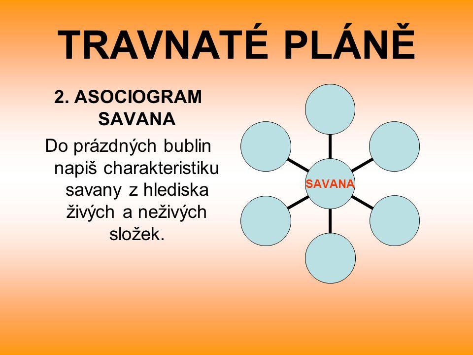 TRAVNATÉ PLÁNĚ 2. ASOCIOGRAM SAVANA Do prázdných bublin napiš charakteristiku savany z hlediska živých a neživých složek. SAVANA
