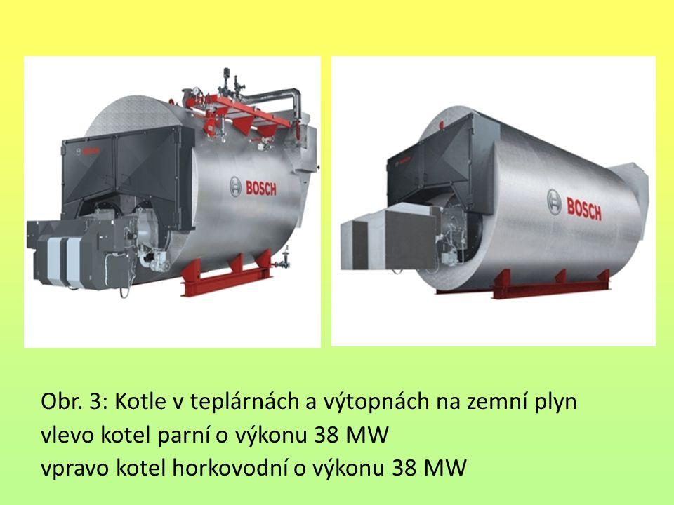 Obr. 3: Kotle v teplárnách a výtopnách na zemní plyn vlevo kotel parní o výkonu 38 MW vpravo kotel horkovodní o výkonu 38 MW