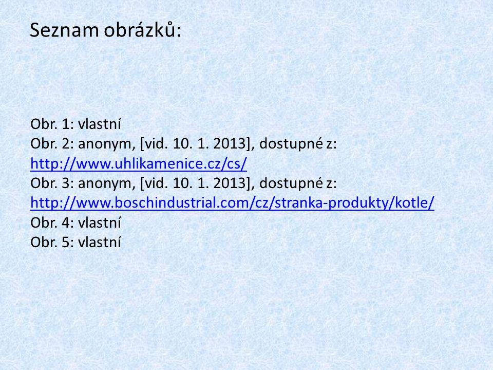 Seznam obrázků: Obr. 1: vlastní Obr. 2: anonym, [vid. 10. 1. 2013], dostupné z: http://www.uhlikamenice.cz/cs/ http://www.uhlikamenice.cz/cs/ Obr. 3: