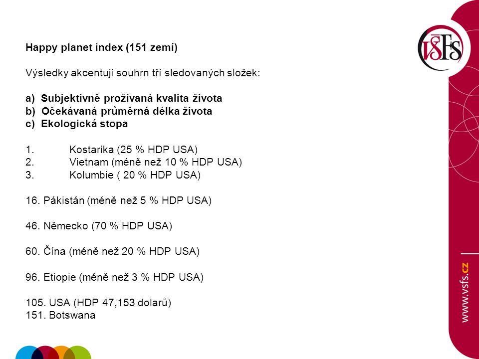 Happy planet index (151 zemí) Výsledky akcentují souhrn tří sledovaných složek: a) Subjektivně prožívaná kvalita života b) Očekávaná průměrná délka života c) Ekologická stopa 1.Kostarika (25 % HDP USA) 2.Vietnam (méně než 10 % HDP USA) 3.Kolumbie ( 20 % HDP USA) 16.