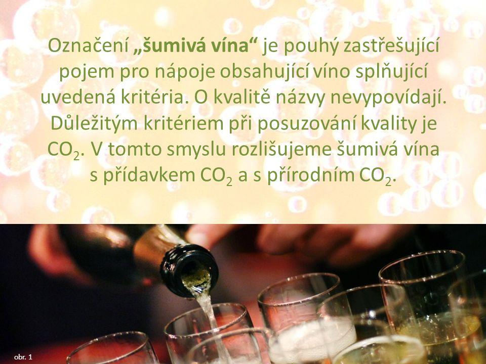 """Označení """"šumivá vína je pouhý zastřešující pojem pro nápoje obsahující víno splňující uvedená kritéria."""