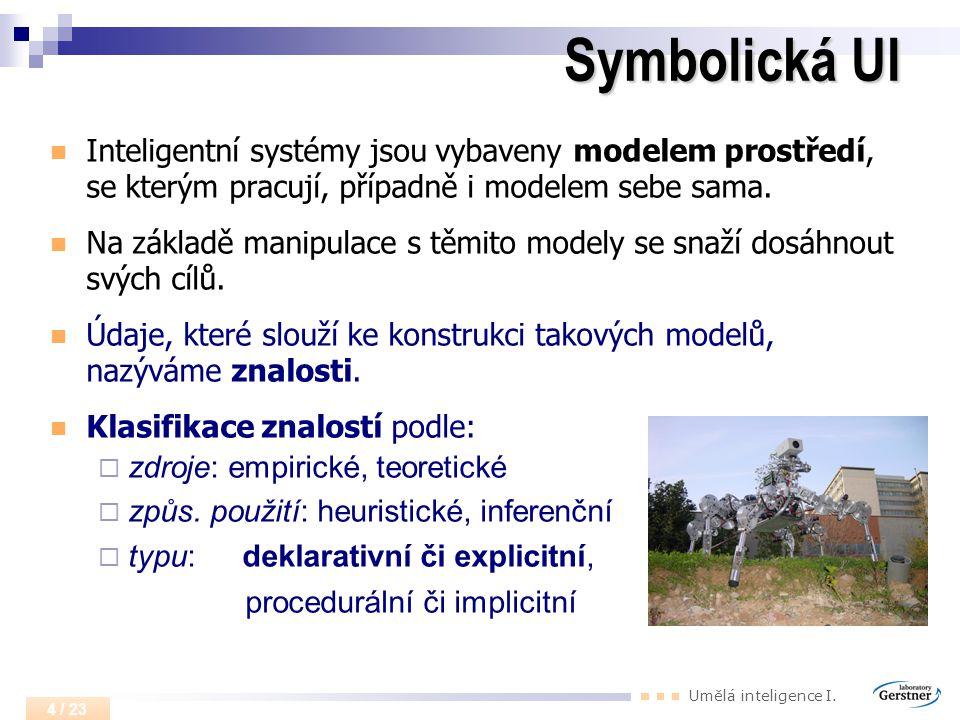Umělá inteligence I. 4 / 23 Symbolická UI Inteligentní systémy jsou vybaveny modelem prostředí, se kterým pracují, případně i modelem sebe sama. Na zá