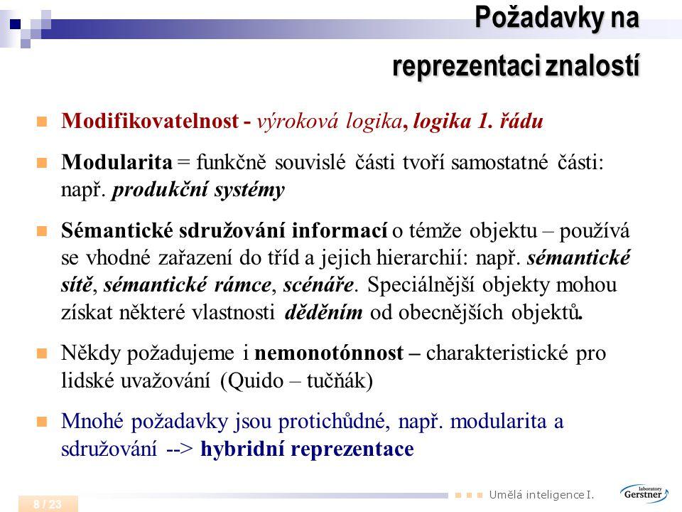 Umělá inteligence I. 8 / 23 Požadavky na reprezentaci znalostí Modifikovatelnost - výroková logika, logika 1. řádu Modularita = funkčně souvislé části