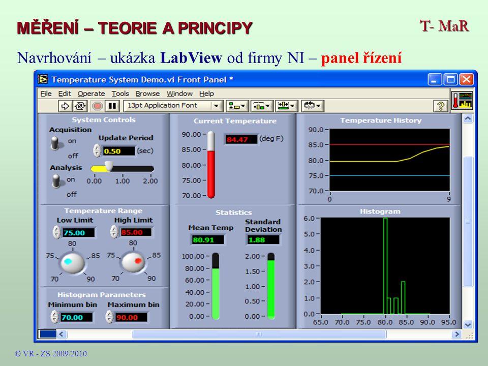 T- MaR MĚŘENÍ – TEORIE A PRINCIPY © VR - ZS 2009/2010 Navrhování – ukázka LabView od firmy NI – panel řízení