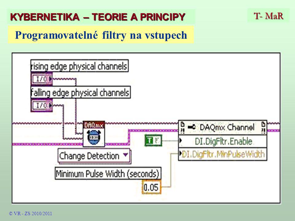 T- MaR KYBERNETIKA – TEORIE A PRINCIPY Programovatelné filtry na vstupech © VR - ZS 2010/2011