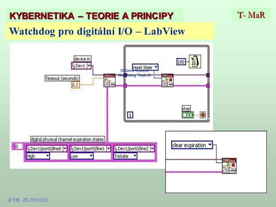 DAQmx Control Watchdog Task.VI T- MaR KYBERNETIKA – TEORIE A PRINCIPY Watchdog pro digitální I/O – LabView © VR - ZS 2010/2011