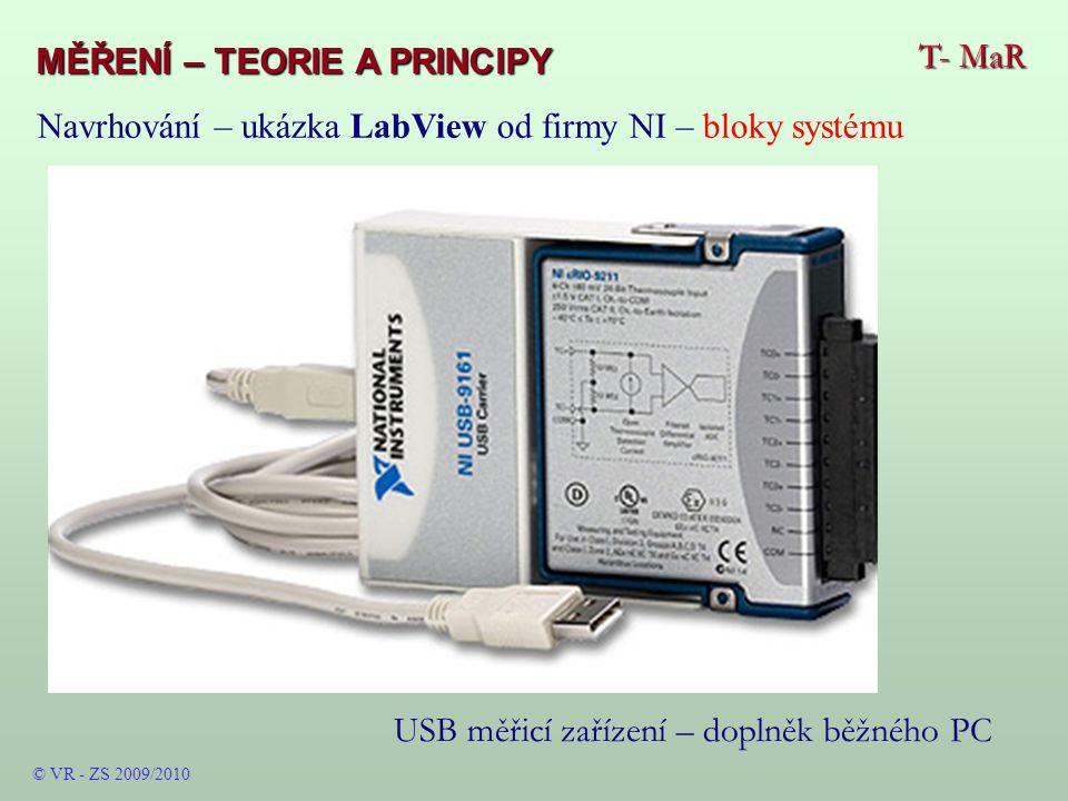 T- MaR MĚŘENÍ – TEORIE A PRINCIPY © VR - ZS 2009/2010 USB měřicí zařízení – doplněk běžného PC Navrhování – ukázka LabView od firmy NI – bloky systému