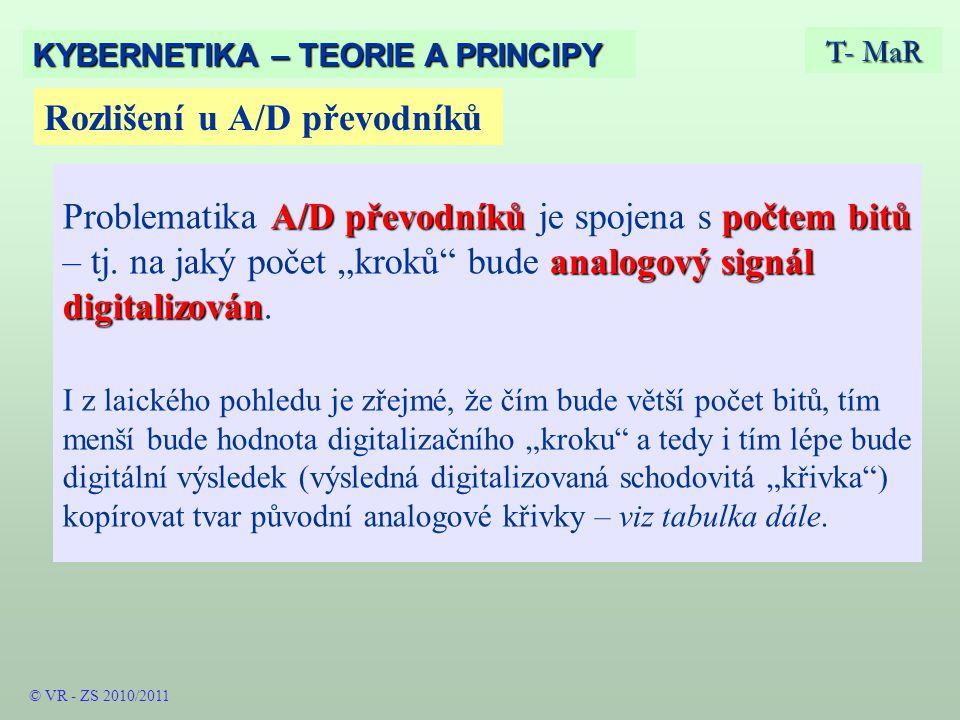 Rozlišení u A/D převodníků T- MaR KYBERNETIKA – TEORIE A PRINCIPY A/D převodníkůpočtem bitů analogový signál digitalizován Problematika A/D převodníků je spojena s počtem bitů – tj.