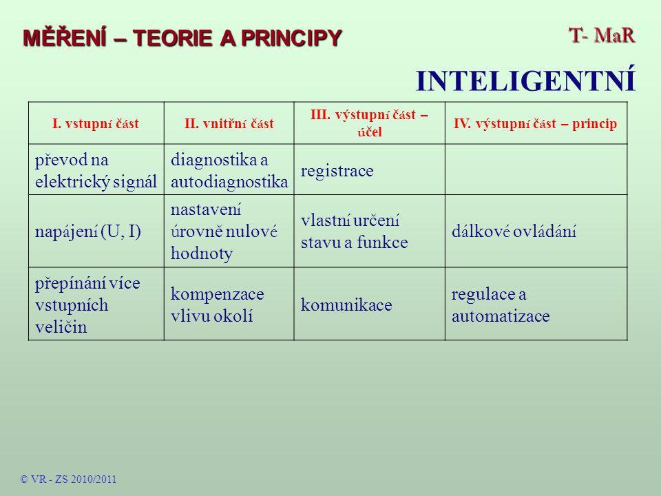 T- MaR MĚŘENÍ – TEORIE A PRINCIPY INTELIGENTNÍ © VR - ZS 2010/2011 I.