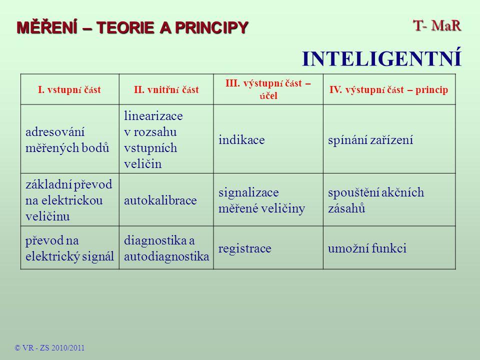 T- MaR MĚŘENÍ – TEORIE A PRINCIPY INTELIGENTNÍ I.vstupn í č á stII.