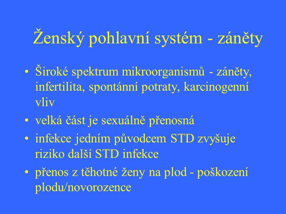 Ženský pohlavní systém - záněty Široké spektrum mikroorganismů - záněty, infertilita, spontánní potraty, karcinogenní vliv velká část je sexuálně přen