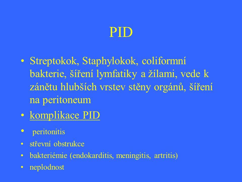 PID Streptokok, Staphylokok, coliformní bakterie, šíření lymfatiky a žílami, vede k zánětu hlubších vrstev stěny orgánů, šíření na peritoneum komplika