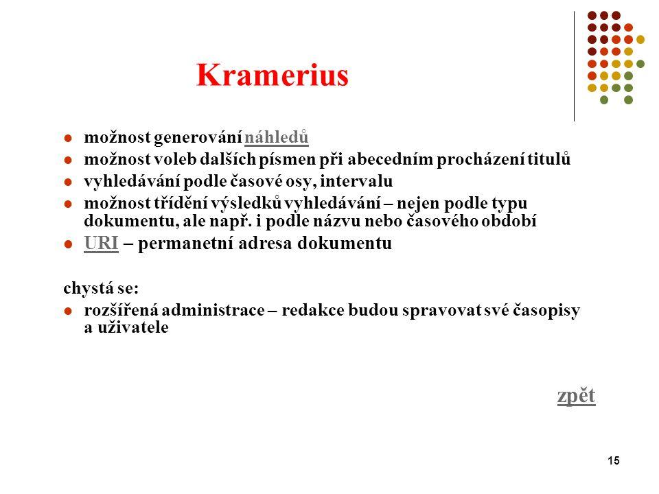 15 Kramerius možnost generování náhledůnáhledů možnost voleb dalších písmen při abecedním procházení titulů vyhledávání podle časové osy, intervalu možnost třídění výsledků vyhledávání – nejen podle typu dokumentu, ale např.