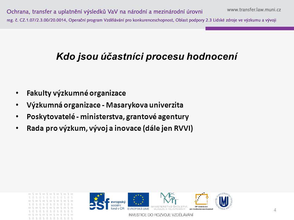 5 Cílem hodnocení výsledků výzkumných organizací je poskytovat vládě, zainteresovaným státním orgánům a veřejnosti, případně Poslanecké sněmovně Parlamentu ČR apod., soubor informací o výzkumu, experimentálním vývoji a inovacích podporovaných z veřejných prostředků včetně hodnocení výsledků výzkumných organizací, zároveň slouží jako podklad pro hodnocení programů poskytnout jeden z podkladů pro přípravu návrhů výdajů státního rozpočtu na institucionální podporu VaVaI na rozvoj výzkumných organizací kontrolovat poskytování a použití účelové nebo institucionální podpory (s tím souvisí dnešní potřeba Open access)