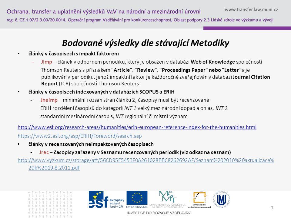 7 Bodované výsledky dle stávající Metodiky články v časopisech s impakt faktorem -Jimp – článek v odborném periodiku, který je obsažen v databázi Web