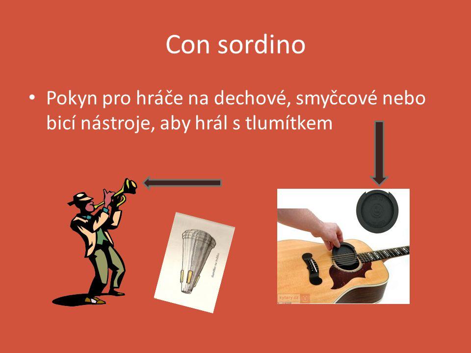 decrescendo Je z italštiny, čte se dekrešendo Je opakem crescenda Znamená postupně zeslabovat Může se říci také diminuendo