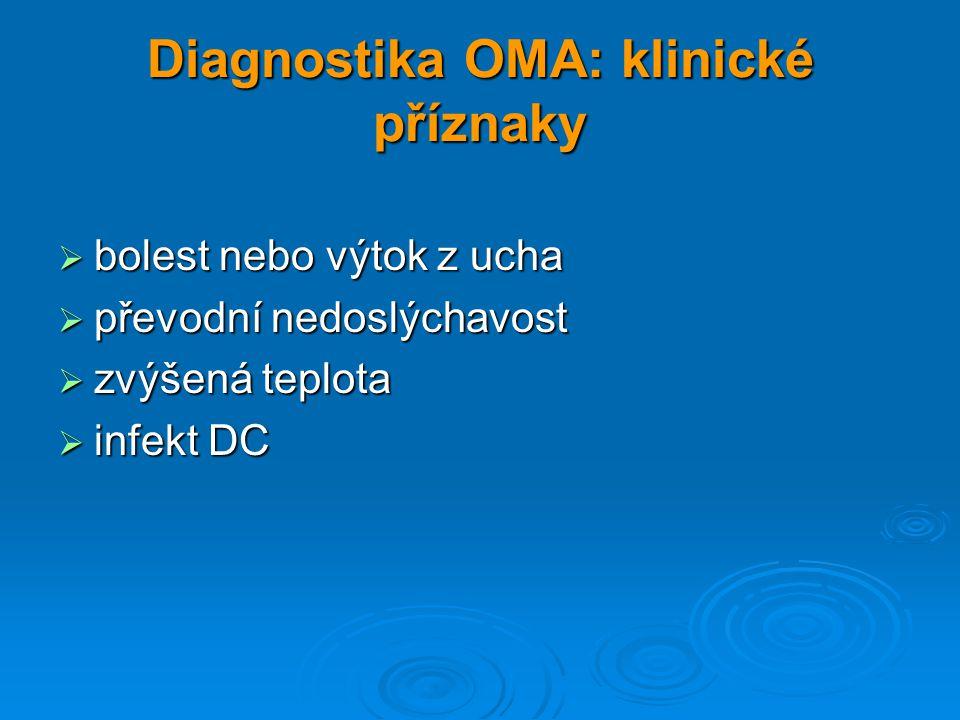 Diagnostika OMA: klinické příznaky  bolest nebo výtok z ucha  převodní nedoslýchavost  zvýšená teplota  infekt DC