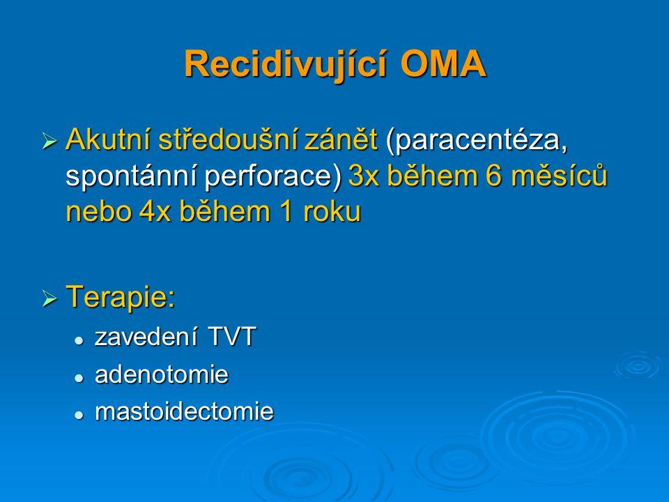 Recidivující OMA  Akutní středoušní zánět (paracentéza, spontánní perforace) 3x během 6 měsíců nebo 4x během 1 roku  Terapie: zavedení TVT zavedení