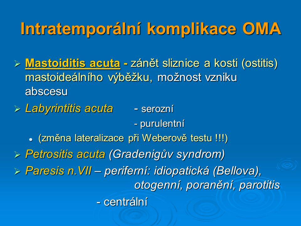Intratemporální komplikace OMA  Mastoiditis acuta - zánět sliznice a kosti (ostitis) mastoideálního výběžku, možnost vzniku abscesu  Labyrintitis ac