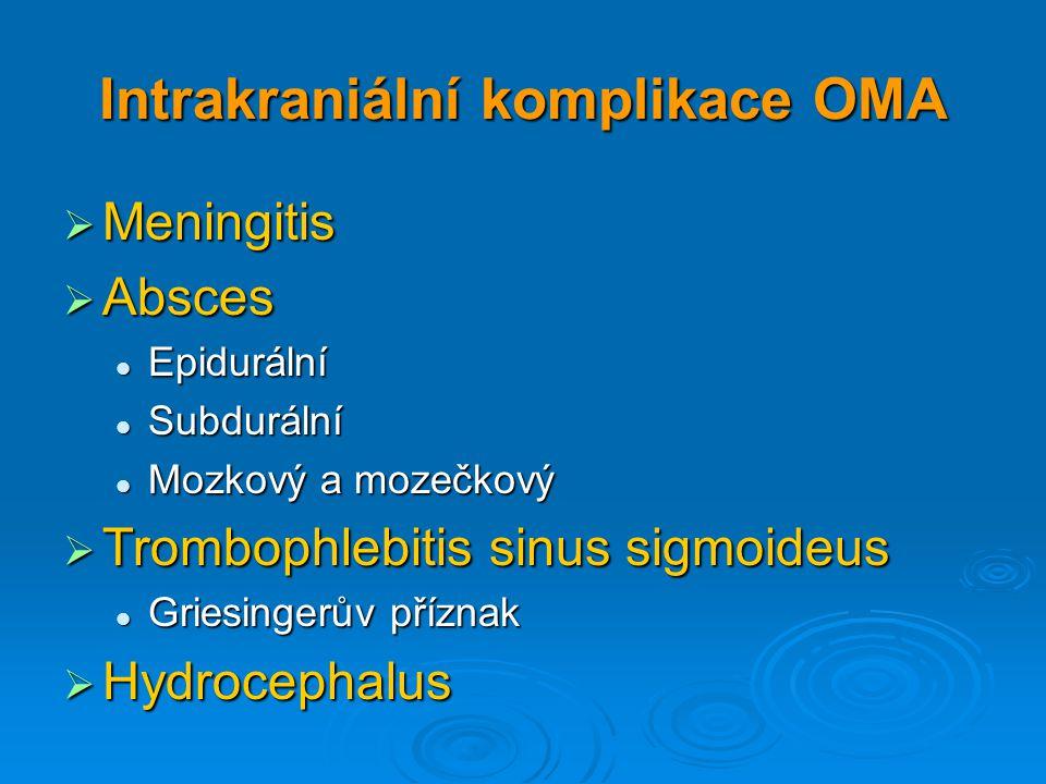 Intrakraniální komplikace OMA  Meningitis  Absces Epidurální Epidurální Subdurální Subdurální Mozkový a mozečkový Mozkový a mozečkový  Trombophlebi