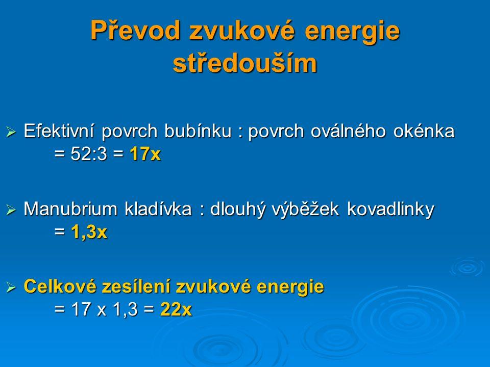 Převod zvukové energie středouším  Efektivní povrch bubínku : povrch oválného okénka = 52:3 = 17x  Manubrium kladívka : dlouhý výběžek kovadlinky =