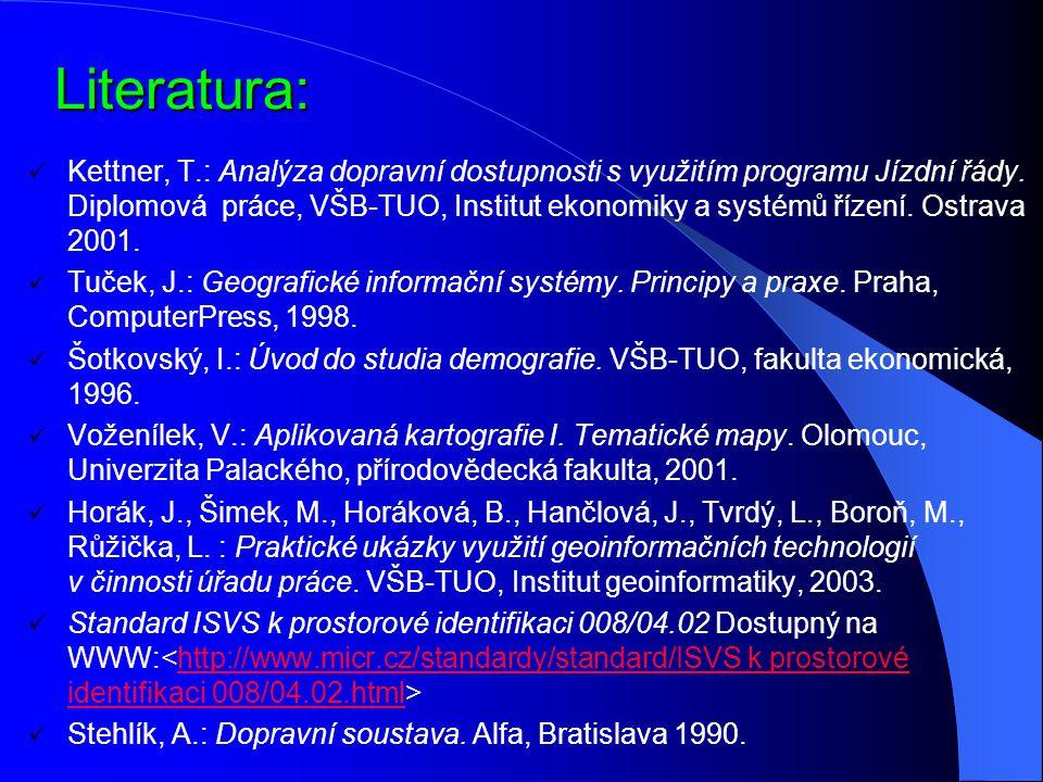 Literatura: Kettner, T.: Analýza dopravní dostupnosti s využitím programu Jízdní řády. Diplomová práce, VŠB-TUO, Institut ekonomiky a systémů řízení.