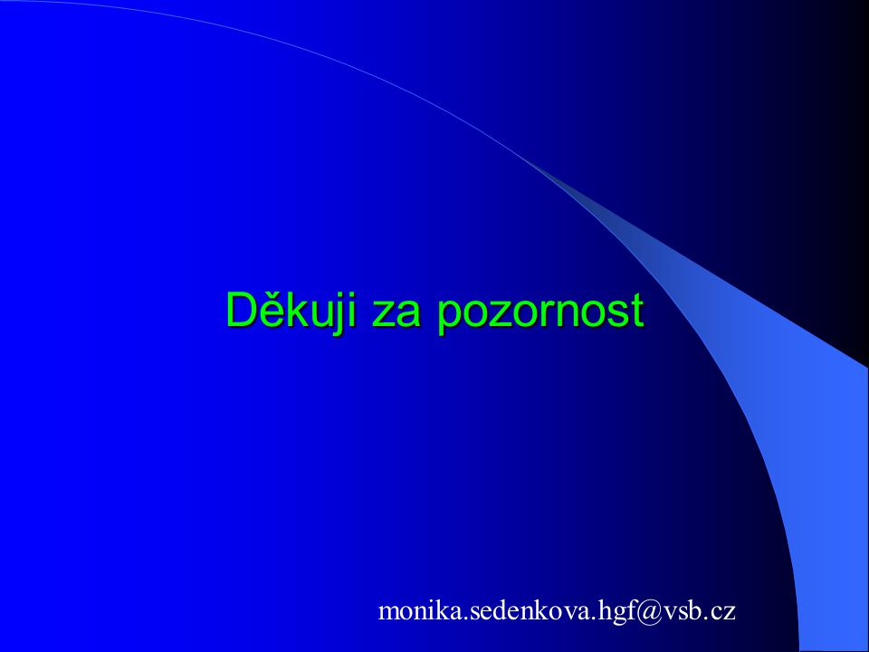 Děkuji za pozornost monika.sedenkova.hgf@vsb.cz