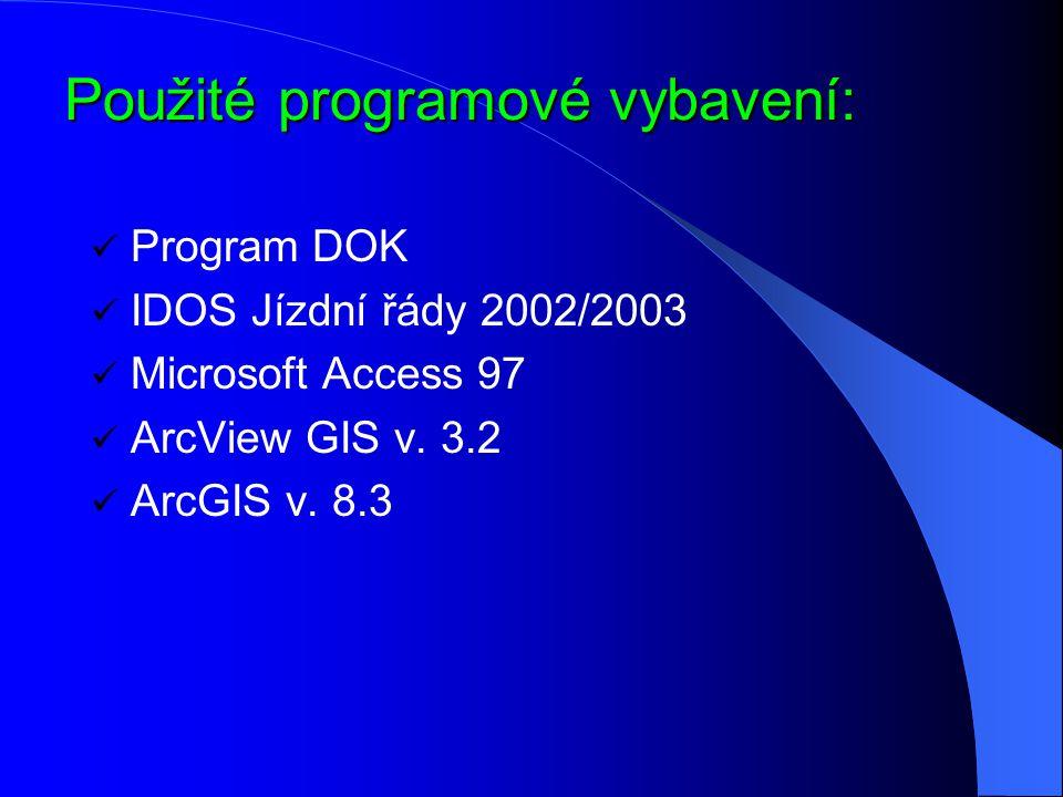 Použité programové vybavení: Program DOK IDOS Jízdní řády 2002/2003 Microsoft Access 97 ArcView GIS v. 3.2 ArcGIS v. 8.3