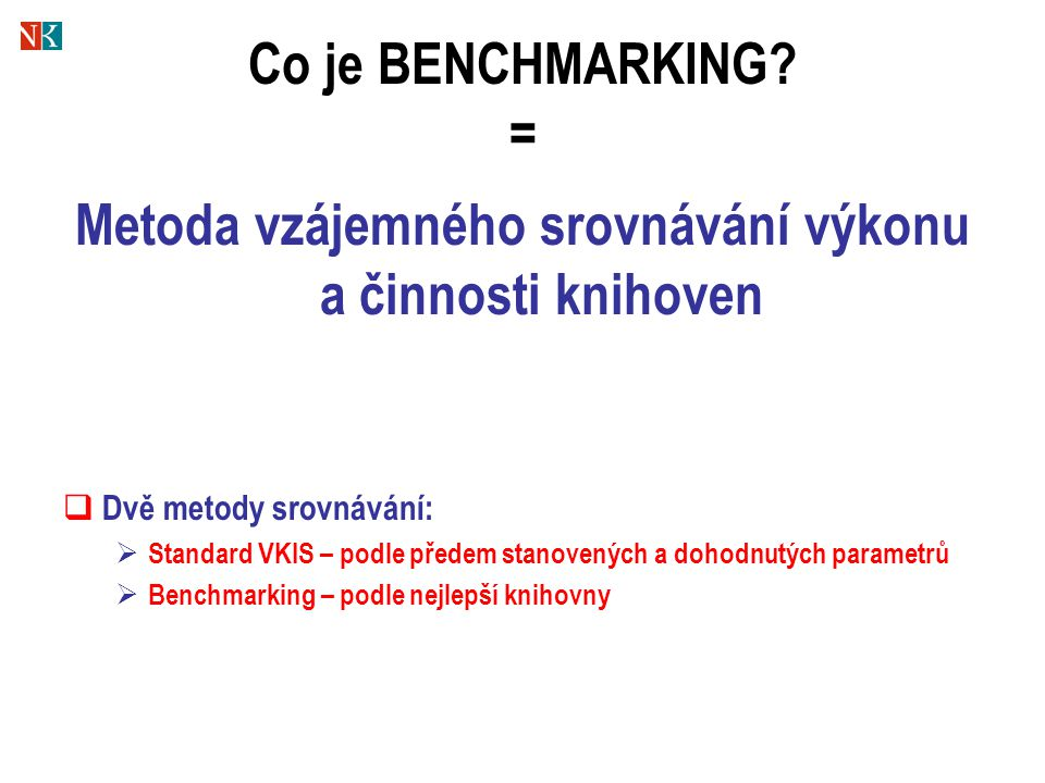 Co je BENCHMARKING.