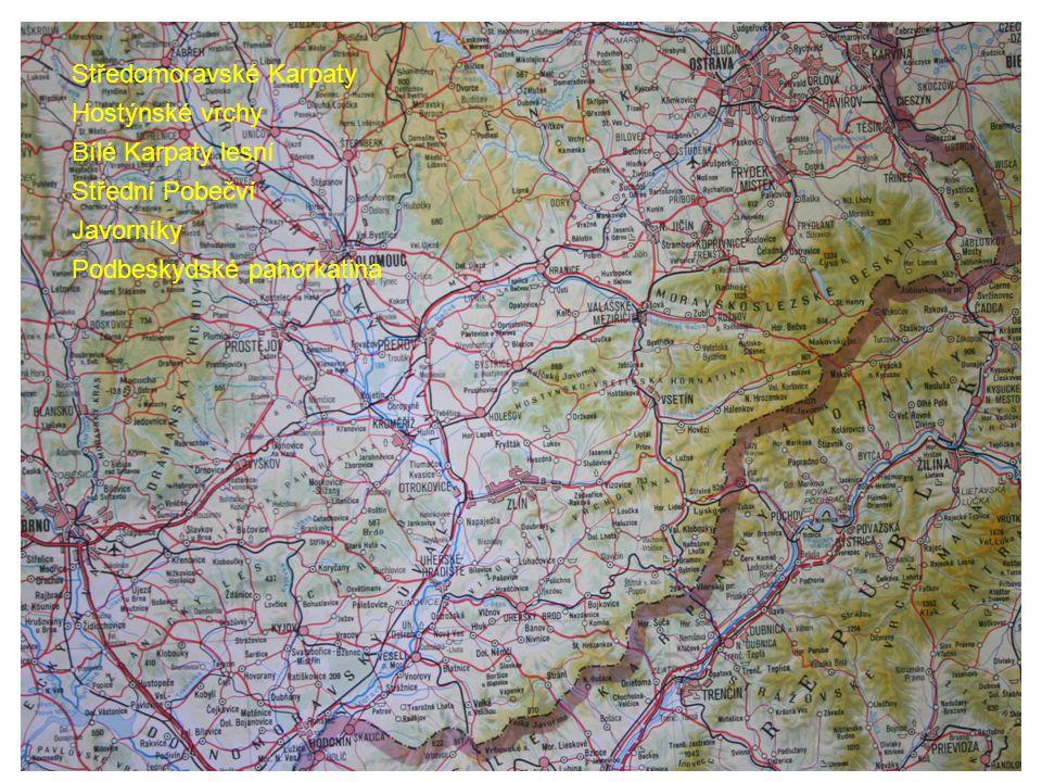 Středomoravské Karpaty Hostýnské vrchy Bílé Karpaty lesní Střední Pobečví Javorníky Podbeskydské pahorkatina